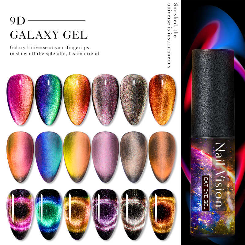 Kuku Visi 9D Galaxy Cat Eye Nail Gel Chameleon Magnetic Rendam Off UV Nail Varnish 5D/7D 5 Ml semi Permanen Gel Manicure Lacquer