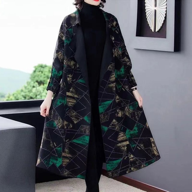 High Quality Fashion  Autumn Winter Women's  Woolen Long Coats Loose Middle Aged Mother Oversized Plaid Cape Drop-shoulder Wool 3