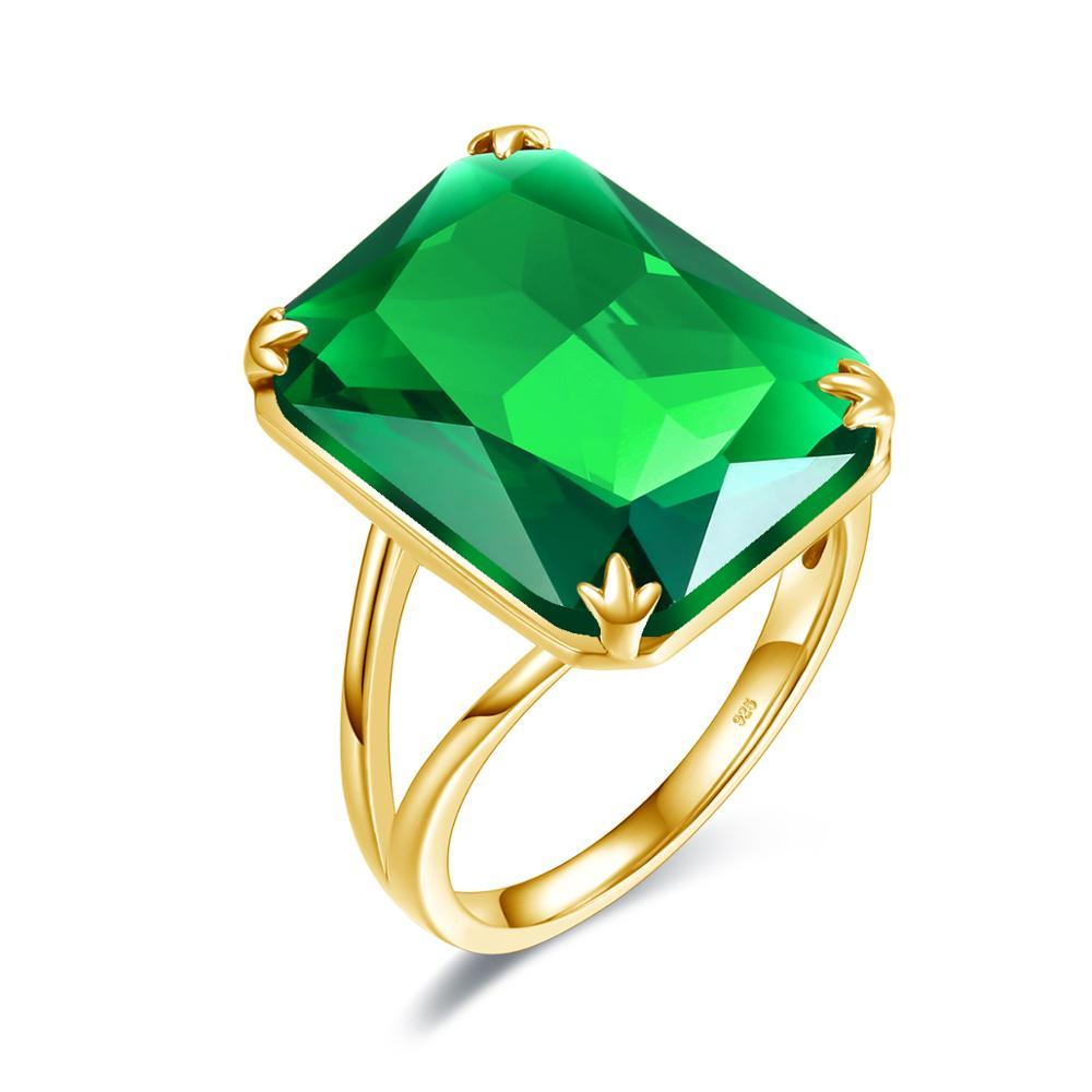 Szjinao luksusowe 14K złote szmaragdowe pierścionki dla kobiet ślub zaręczynowy pierścionek koktajlowy prawdziwe 925 srebro Fine biżuteria na prezent