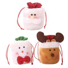 Christmas Elk Candy Storage Bags Drawstring Apple Kids Gift Pack Birthday Party Supplies