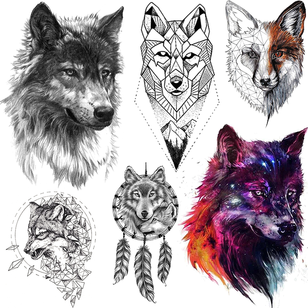Tigrish Tribal Wolf Temporary Tattoos For Men Women Arm Chest Fake Tattoo Sticker Waterproof Realistic 3D Flash Wolf Tatoo Paper