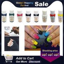 30 мл Аэрограф для дизайна ногтей, набор чернил для ногтей, пигмент для ручных трафаретов, цветной краскопульт, аксессуары для ногтей, 8 цветов