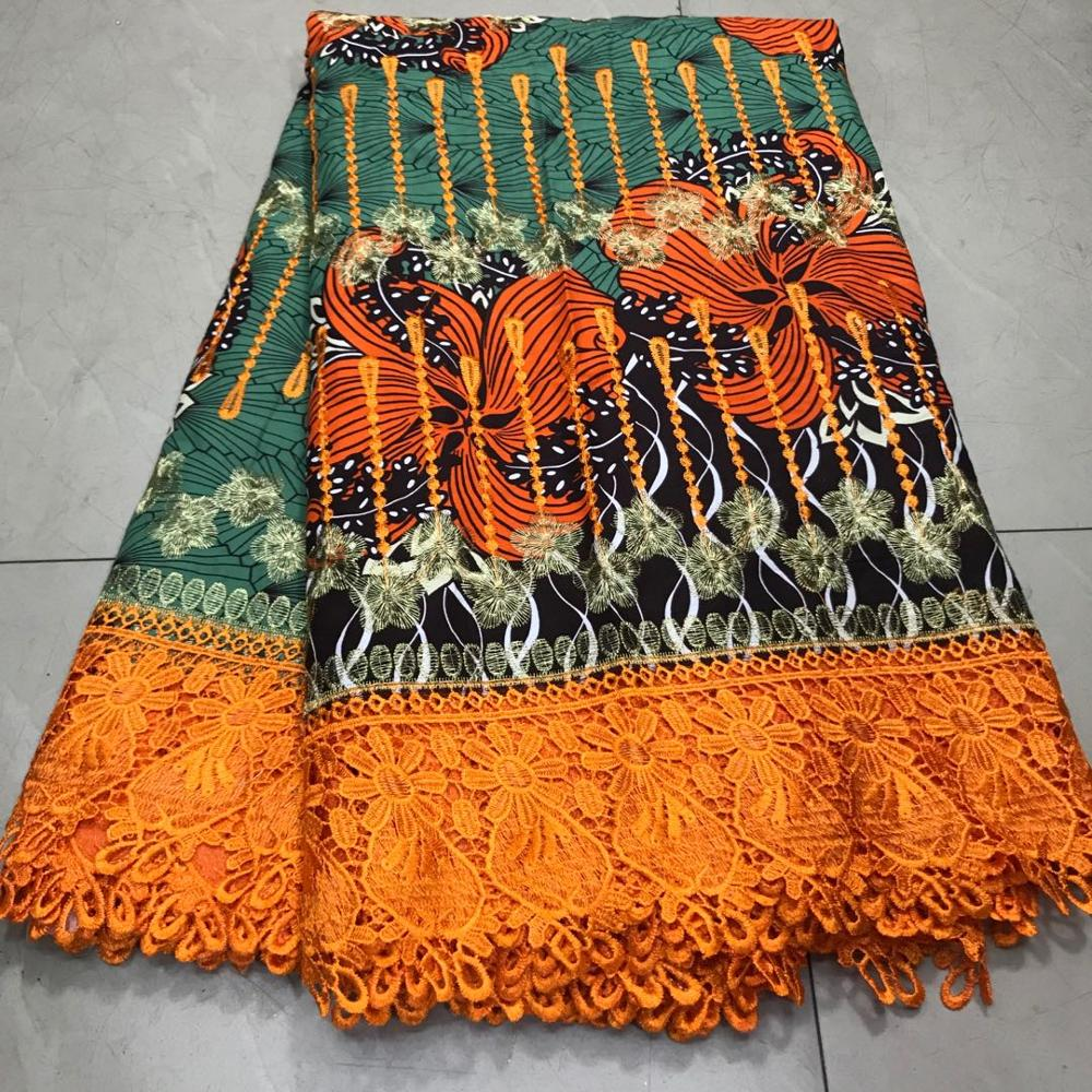 Embroidery Ankara Cotton Lace Wax Fabrics Nigerian Dutch Holland Wax Pange Material African Wax Cloth For Women's Dress Africa