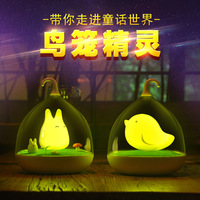 LED Birdcage Totoro Touch Dimming Small Night Lamp Creative Rechargeable Voice Children Lamp Bedroom Bedside Night Light