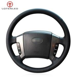 LQTENLEO czarny PU sztuczna skóra ręcznie szyte osłona na kierownicę do samochodu dla Kia Sorento 2003 2004 2005 2006 2007 2008 2009