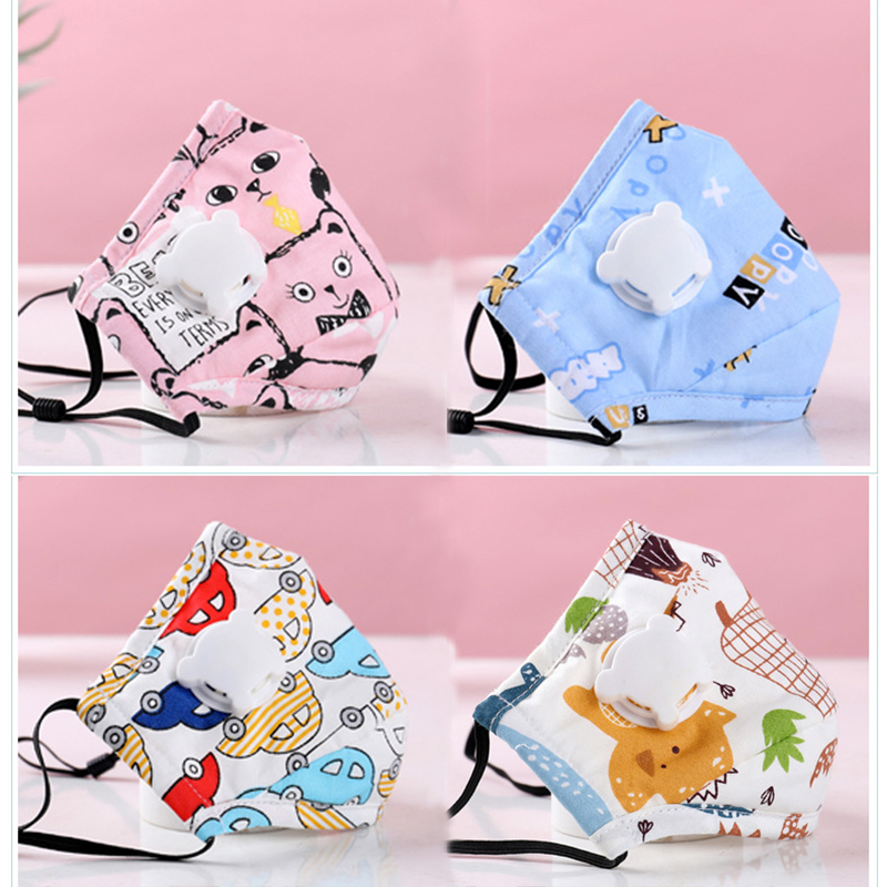 PM2.5 Baby Girl Mouth Mask Respiratory Valve Cartoon Anime Thicken Smog Mask Warm Dust Mask Fits 2-10 Years Old Kids