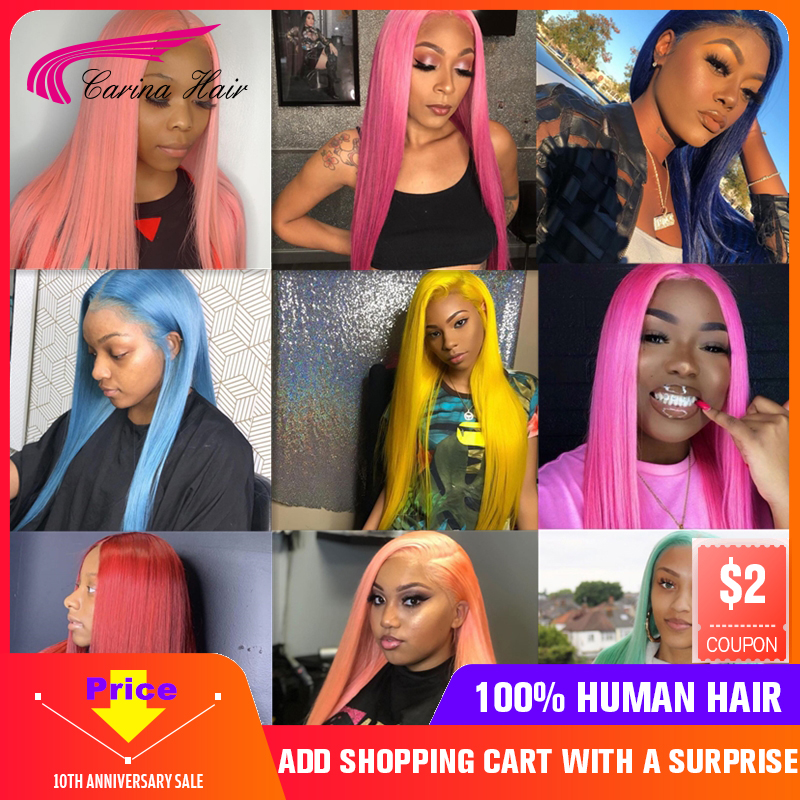 Carina 613 13*4 Lace Front Human Hair Wigs Brazilian 180% Meddle Ratio Red Blue Purple Green Yellow Pink Remy Straight Lace Wig
