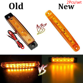 2x Amber 9 LED Auto Car Bus Truck Lorry Side Marker Light Clearance for Car Lorry Bus Waterproof Lamp image