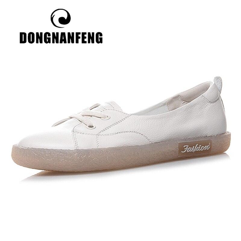 DONGNANFENG/женские белые туфли из натуральной кожи на плоской подошве в стиле ретро, на шнуровке, Нескользящие, корейские, размеры 34-41, JZ-19211