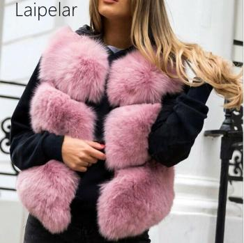 Girl Faux Fur Vest Real Fox Coat Women Jacket  Fashion Warm