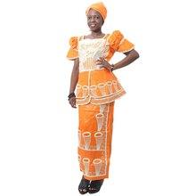 MD 2020 ローブ Africaine 南アフリカの女性服バザン Riche Dashiki トップスカートスーツ女性シャツスカートナイジェリアターバン Headtie