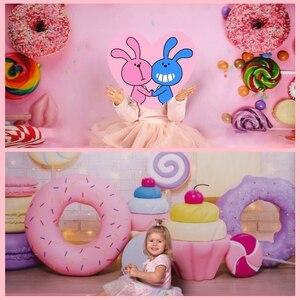 Image 4 - Yeele Suikerspin Bar Lolly Donuts Roze Verjaardag Fotografie Achtergronden Aangepaste Fotografische Achtergronden Voor Foto Studio