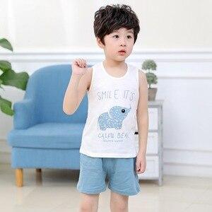 Комплект летней детской одежды для девочек, жилет без рукавов с мультяшным рисунком + шорты, хлопковый комплект детской одежды, повседневна...