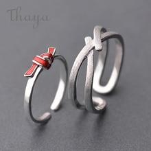 Thaya s925 silver Red knot Ring Streak Cross valentine finger rings for women boho dress Korea jewelry female lover gift