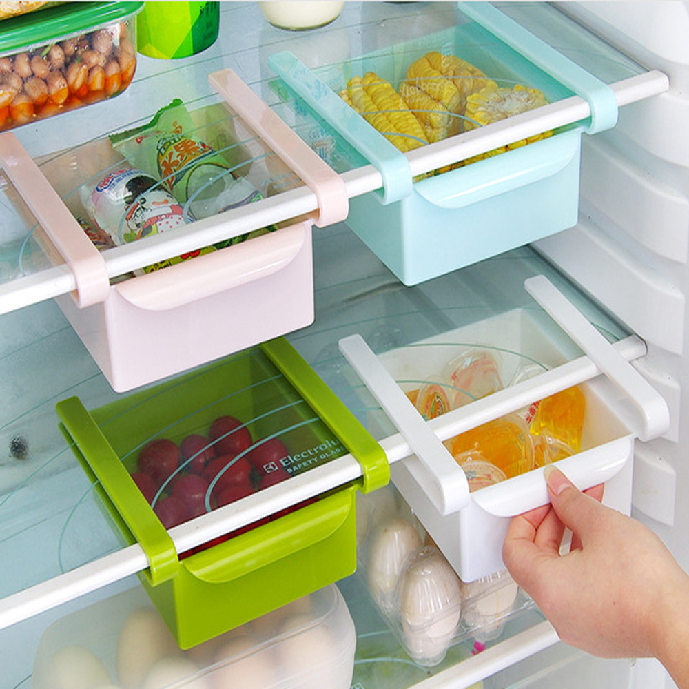 Slide Kitchen Fridge Freezer Space Saver Organizer Storage Rack Shelf Holder Plastic Box Kitchen Cabinet Storage Organiz