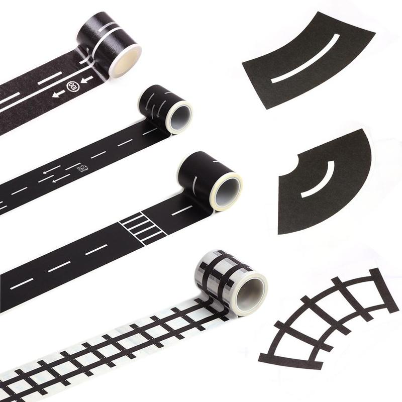 1pc Creative Railway Road Washi Tape Sticker Railway/Highway/Expressway Removeable Parking Map Kids DIY Track Floor Tape Toy