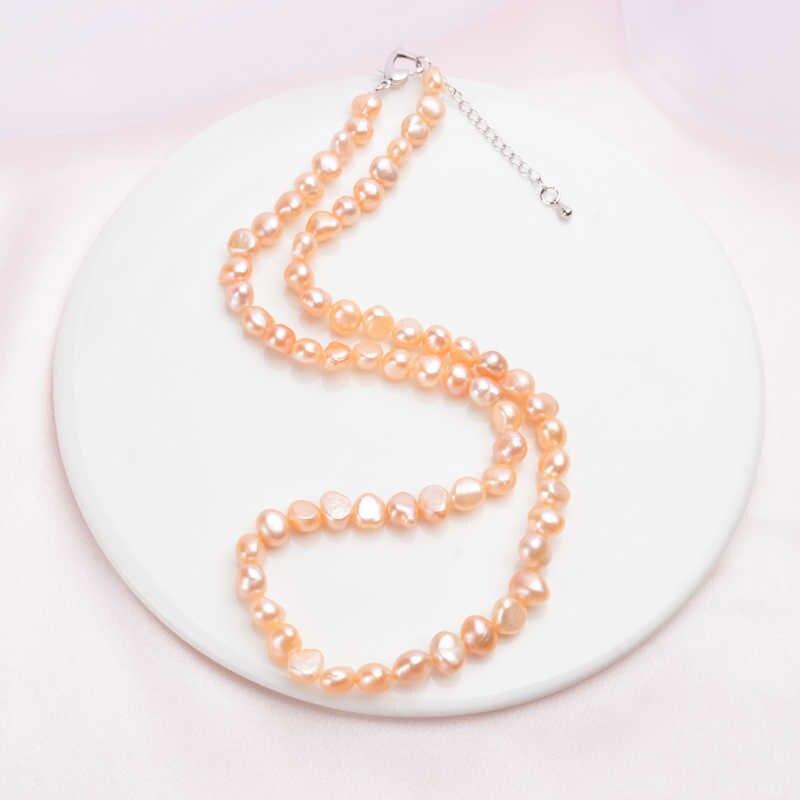 Ashiqi天然淡水真珠のネックレスヴィンテージバロック真珠の宝石 7-8 ミリメートル