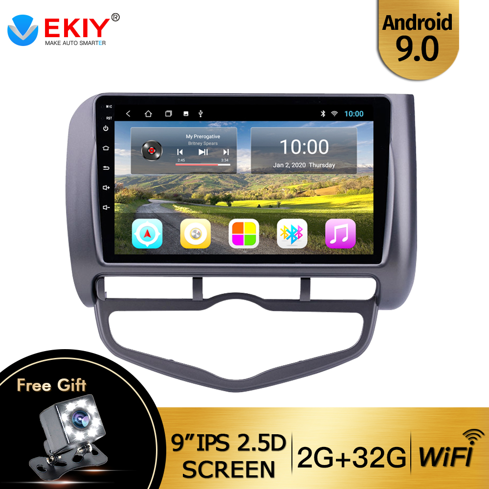 EKIY 9'' IPS Touch Screen DVD Media Player For Honda Fit Jazz 2004 2005-2007 Android 9.0 GPS Navigation Stereo Car Radio Wifi