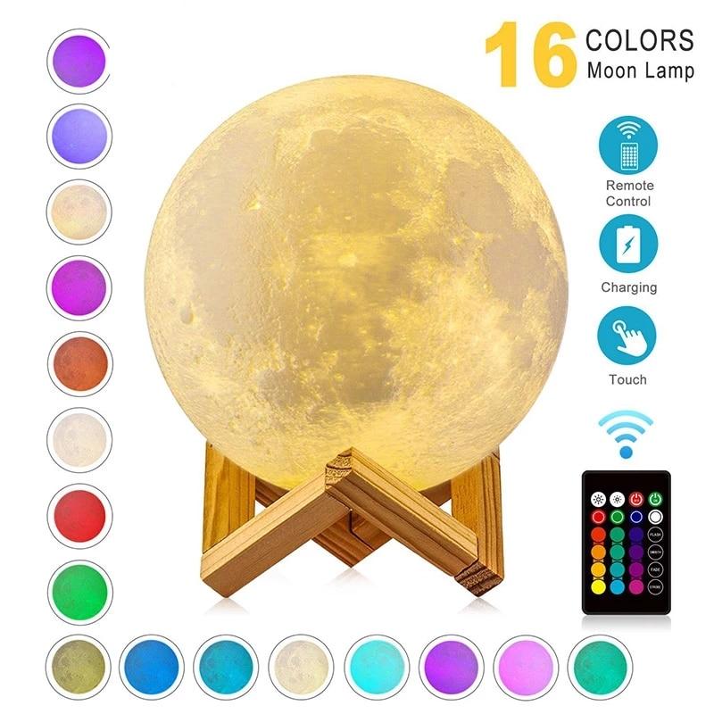 Led 3d impresso galxia lua noite luz muдана de cor lua lmpada luzes da noite das crianas lmpada para decorao casa