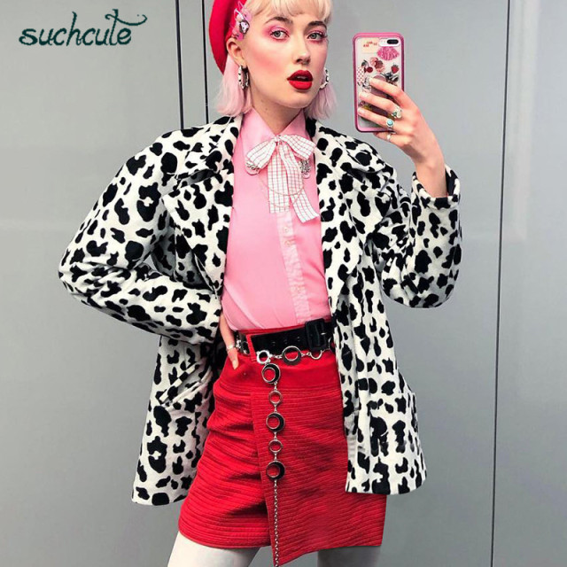 SUCHCUTE Faux Fur Print Coat Velvet Women Jackets Parka Cow Jacket Modis Winter 2019 Korean Style Manteau Fausse Fourrure Vache
