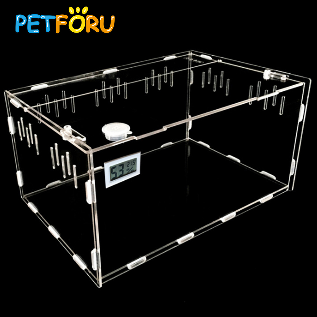 PETFORU Acrylic Reptile Feeding Box Crawler Pets Feeding Container With Temperature Hygrometer - L