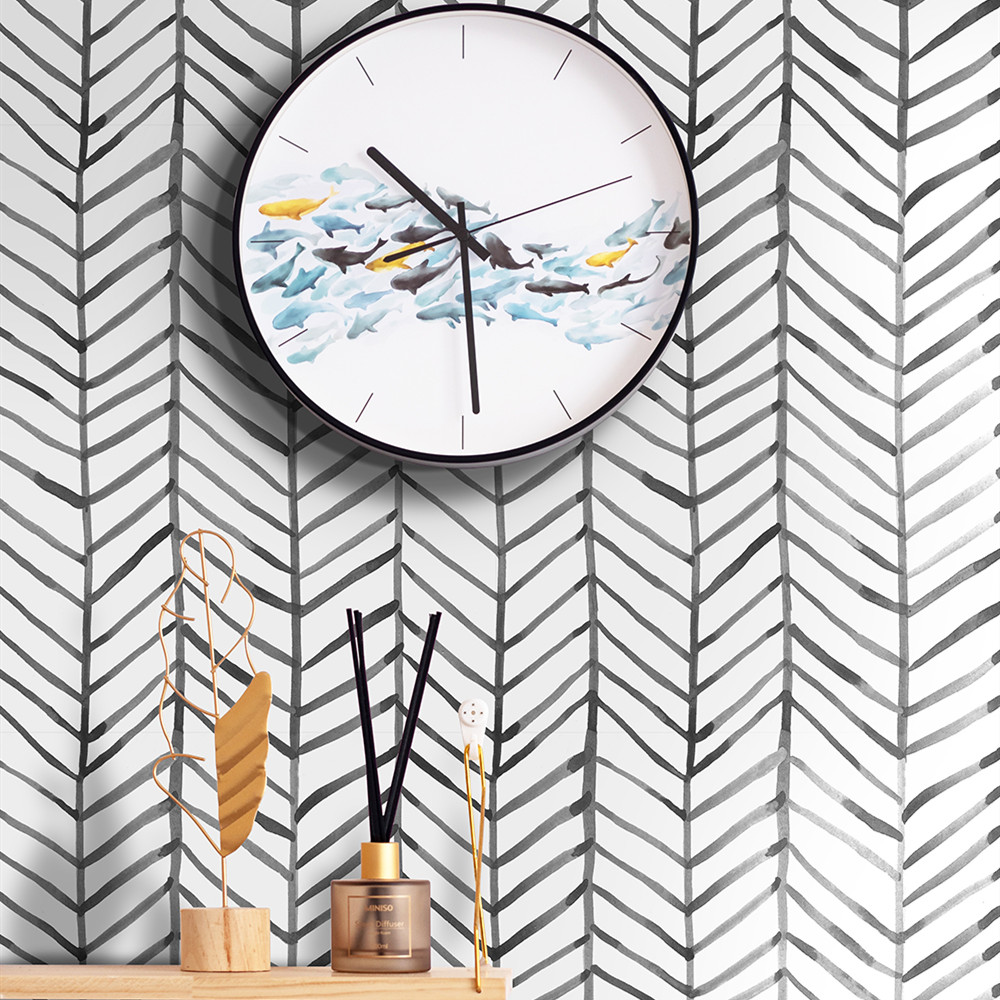 Modern Stripe Peel And Stick Wallpaper Herringbone Black White Vinyl Self Adhesive Contact Paper For Kidroom Bedroom Home Decor 1