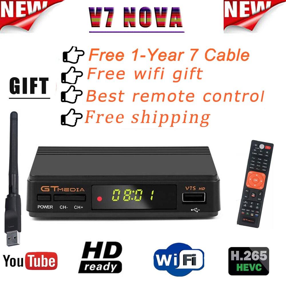 2020Hot DVB-S2 gtmedia v7s hd avec récepteur DE télévision USB WIFI FTA + 1 an lignes CCcam Powervu clés récepteur DE décodeur DE télévision DE l'espagne