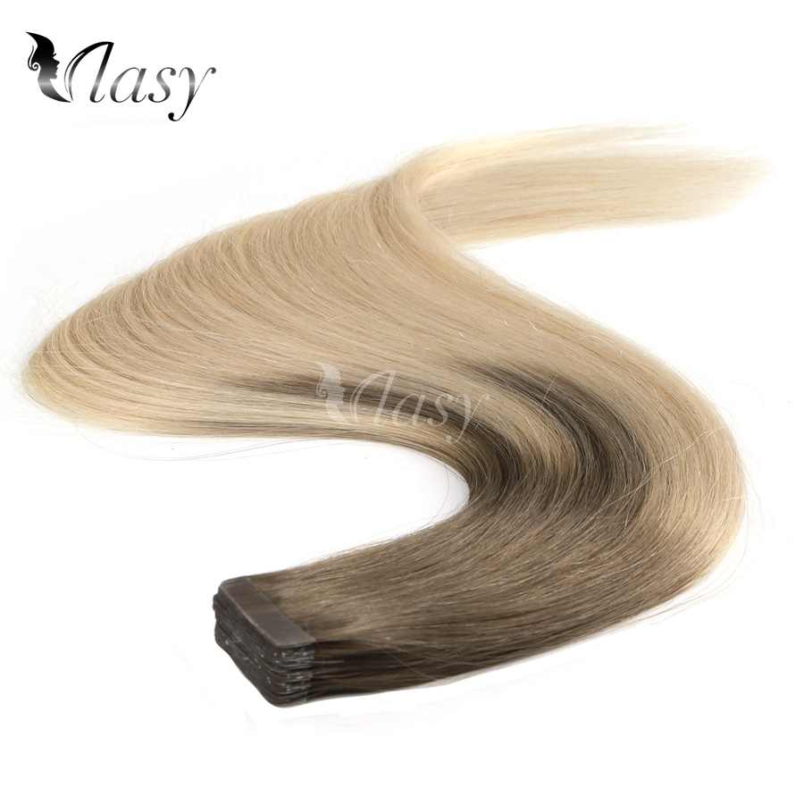 Vlasy 100% Remy Tape In Human Hair Extensions Light Coffee & Cream Balayage Brown Mix Brown Ombre Extensions 20inch 2.5g/pc