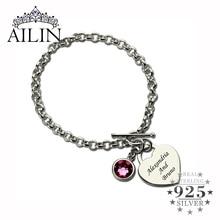 AILIN pulsera personalizada con piedra de nacimiento de corazón, brazalete de plata de ley con nombres de enamorados, joyería de amor