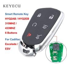 Keyecu 6 Tasten Smart Remote Auto Schlüssel HYQ2AB 315MHZ HYQ2EB 433MHZ ID46 Chip für Cadillac Escalade ESV 2015 2016 2017 2018 2019