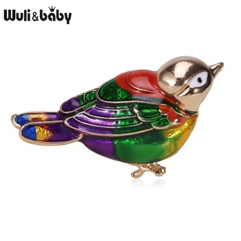 Wuli&baby Enamel Fat Bird Brooches For Women Green Bird Animal Party Casual Office Brooch Pins GiftsPins Gi fabulous short tassel drops double yellow bird brooches silver tone micro pave cz green eyes two love birds pins for girlfriend