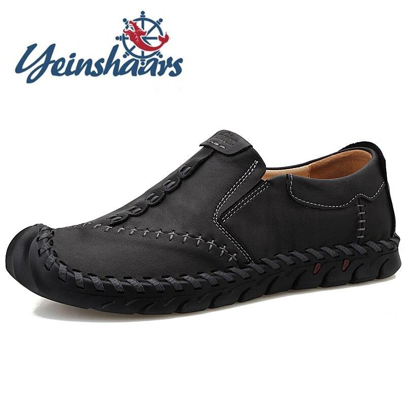 2020 Classic Comfortable Loafers Casual Split Leather Shoes New Fashion Vintage Men Shoes Flats Mocasines Hombre Plus Size 47 48