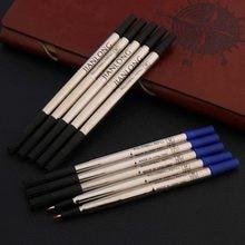 Metal rolleball caneta tinta recargas 5 pces preto ou azul assinatura 0.5mm 0.7mm presente artigos de papelaria escritório escola suprimentos