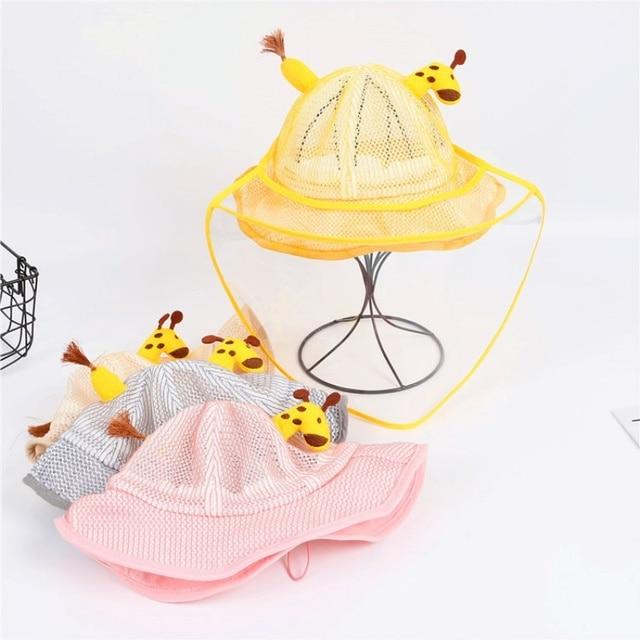 Children's Protective Hat Exquisite Handmade Straw Sun Hat Anti-fog Anti-saliva Korean Fisherman Hat (removable Face Mask) 2