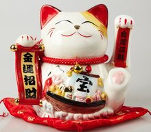 9-inch Hand waving Lucky Cat Fortune Cat Counter Display home decor modern feng shui figurine
