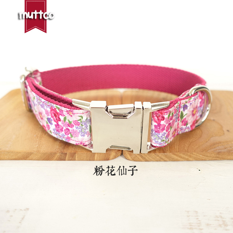 Muttco New Products Pet Flower Dog Collar Metal Neck Ring Female Canine Pet Dog Collar Pet Supplies New Style