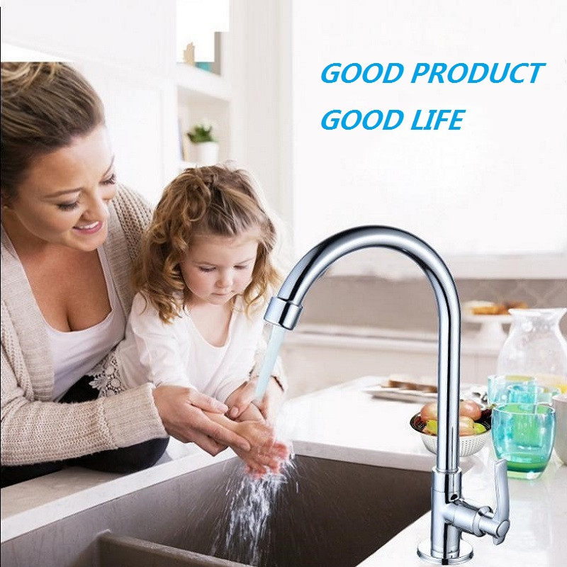 360 Degree Swivel Alloy Kitchen  Single Hole Water Tap Kitchen Faucet Cold Kitchen Tap