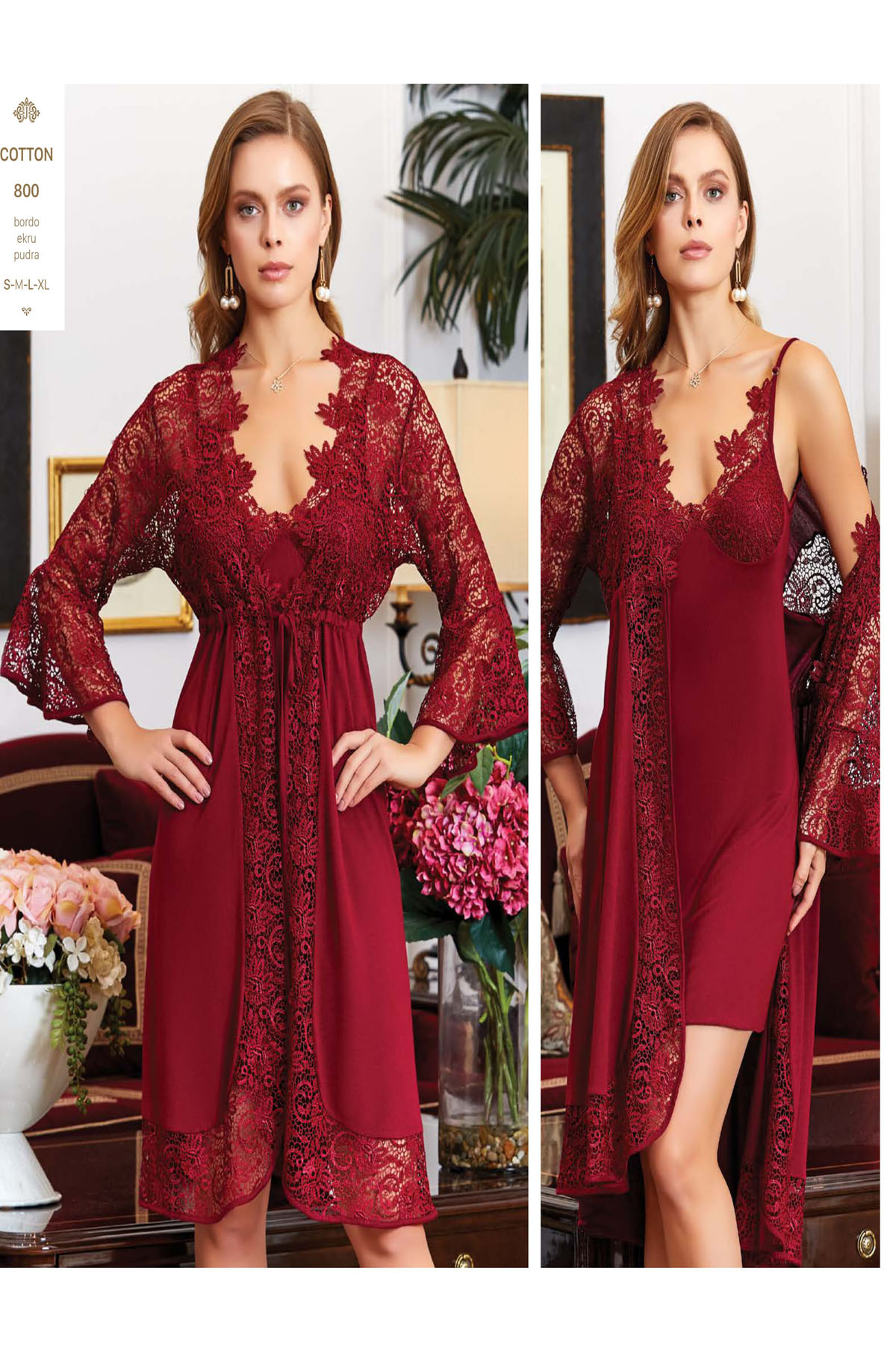 Women Cotton Ruched Long Nightgown And Dressing Gown Pajamas Set 6 Piece Dress At Home Comfortable Sleep Sexy Size S M L XL 800