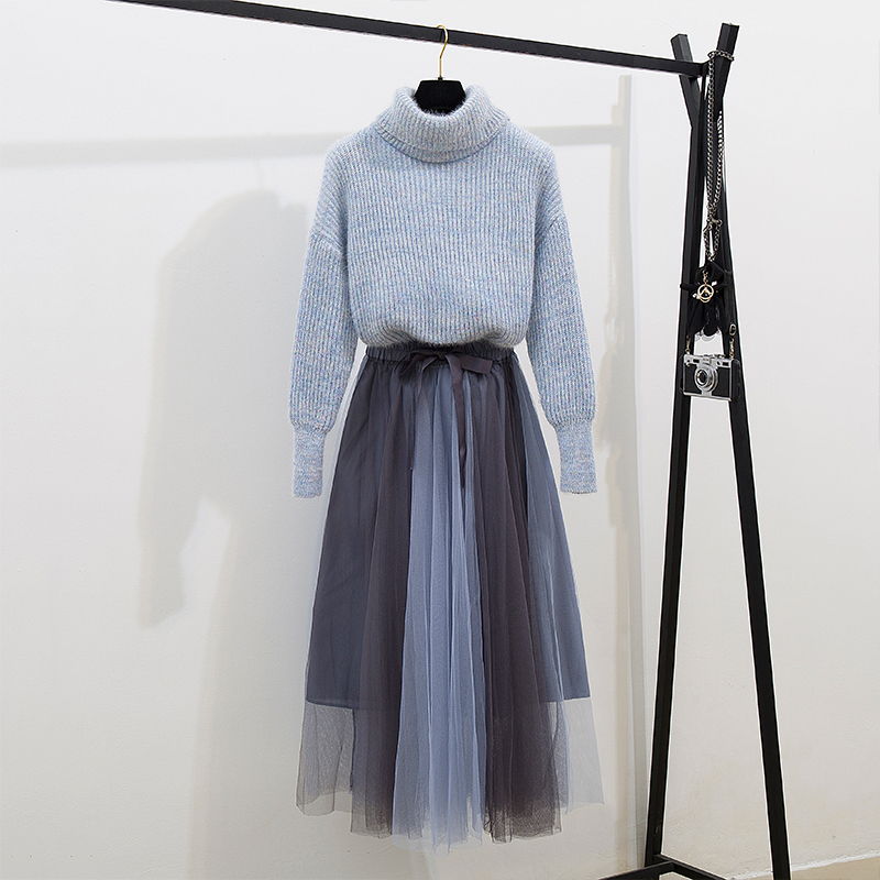 HAMALIEL Korean Women Turtleneck Full Lantern Sleeve Thick Warm Loose Sweater Two Piece Set + Bow Patchwork Mesh Midi Skirt Set
