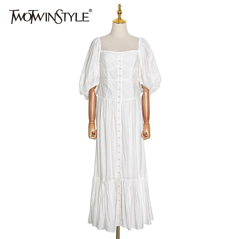 TWOTWINSTYLE Elegant Evening Party Dresses Female Square Collar Lantern Half Sleeve High Waist Maxi Dress Women Clothing fashion