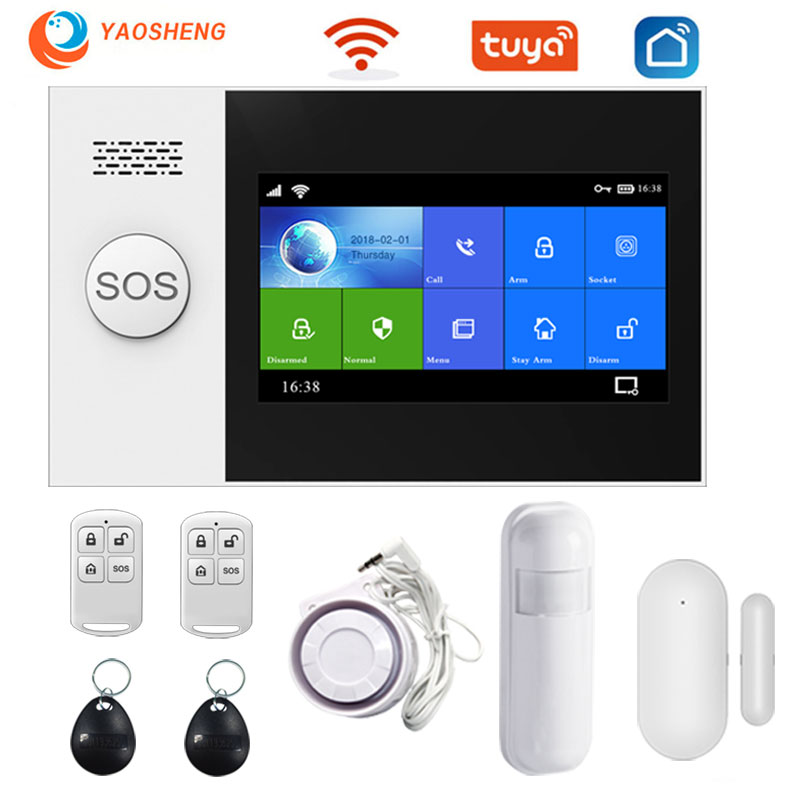 PG-107 Wifi Gsm Tuya smart alarm home security system with PIR Motion Sensor Door sensor RFID Card safety wireless alarm KITS