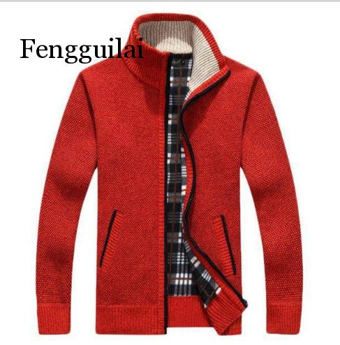 Sweater Men's Autumn And Winter Plus Velvet Thickening Artificial Fur Wool Large Size 3XL Zipper Knit Coat Stand Collar Cardigan