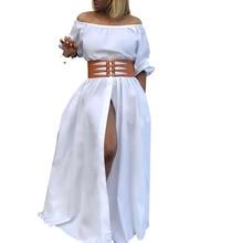 Мода, женское летнее платье с открытыми плечами и высоким разрезом, Платье макси с рукавами-фонариками, Сексуальные вечерние длинные платья для клуба