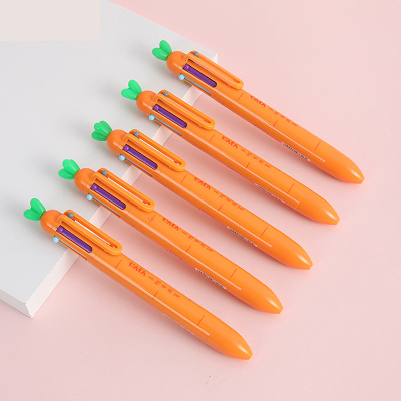 Creative Carrot 6 Colors Ballpoint Pen Cute Multicolor Roll Ball Pens School Office Supply Stationery Gift Papelaria