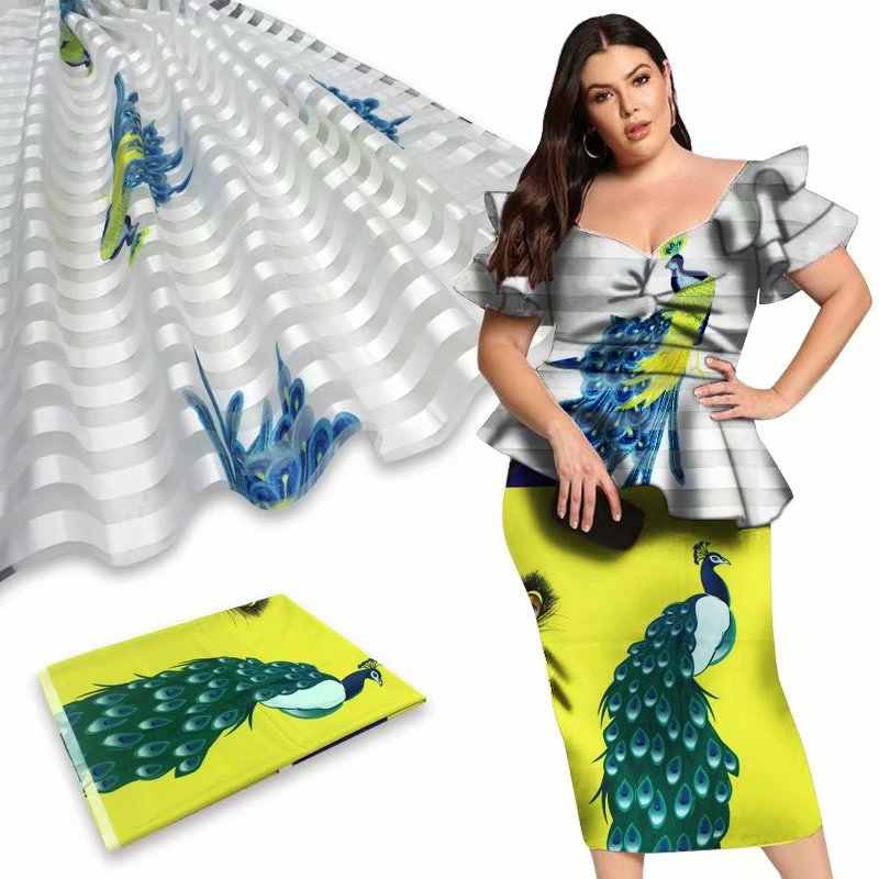 Organza di seta tessuto di 4 metri + 2 metri di nastro materiale ankara africano del tessuto della stampa 2020 di Alta qualità in raso di seta tessuto