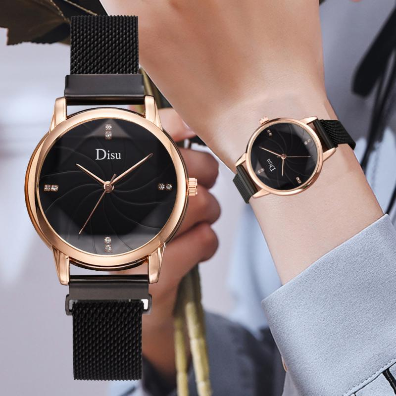 Fashion Gold Diamond Women Watches Luxury Ladies Rose Gold Rhinestone Steel Magnetic Mesh Strap Watch Casual Female Wristwatch