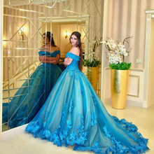 Turquoise Off Shoulder Ball Gown Wedding Dress Sweetheart Lace Appliques Court Train Plus Size Vestidos De Novia Bridal Gowns lovely tulle ball gown wedding dress 2019 new sweetheart lace appliques off shoulder court train princess church bridal dresses