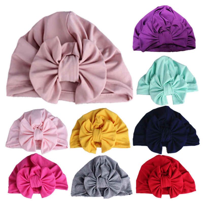 ใหม่ทารกแรกเกิดเด็กวัยหัดเดินเด็กทารกเด็กทารกเด็ก Turban Cotton Bowknot ลูกอมสีหมวกหมวก Beanie หมวกโรงพยาบาลหมวกฤดูหนาว