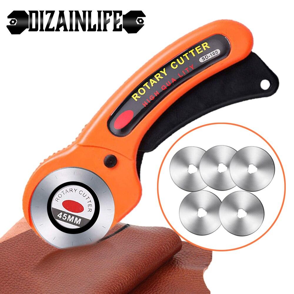 Кожевенное ремесло 45 мм роторный резак инструмент для резки кожи круговое лезвие для кожи рукоделия ткани нож «сделай сам» для лоскутного ш...