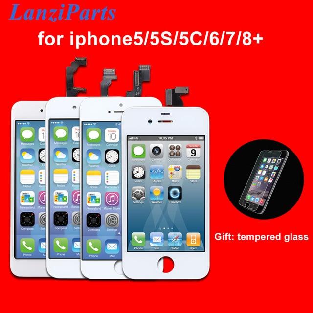 AAA kalite LCD ekran iPhone 6 6 artı 5 5S 5C 5 LCD ekran dokunmatik ekran Digitizer meclisi Pantalla siyah/beyaz Ecran